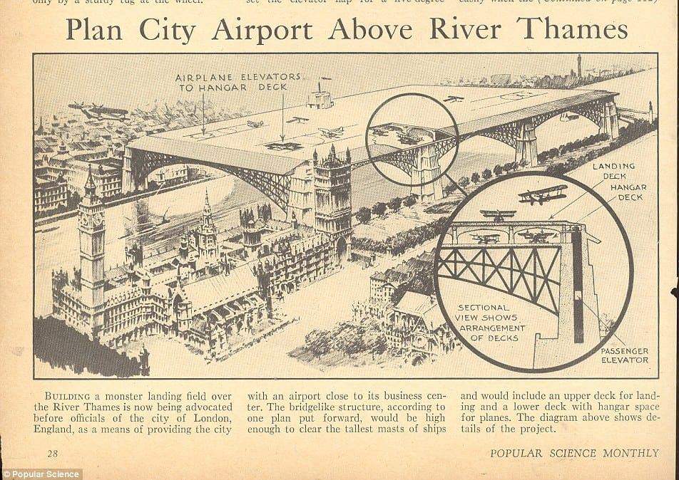 Original plan for London City Airport above River Thames